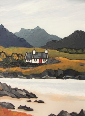 Croft by the Loch painting by artist David BARNES
