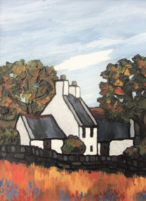 Modern Artist David BARNES - Farm in Gwynned