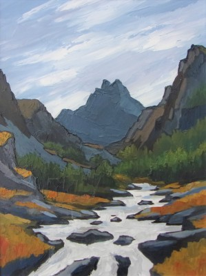 Tryfan and the Llugwy painting by artist David BARNES