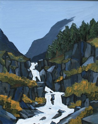 Modern Artist David BARNES - The Ogwen Falls
