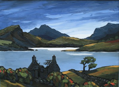 Modern Artist David BARNES - The Old Croft at Eventide