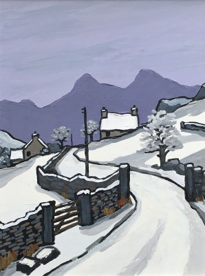 Modern Artist David BARNES - Across to Snowdonia