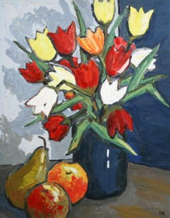 David BARNES - Tulips, Blue Vase and Fruits