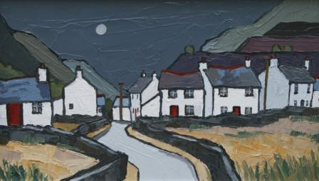 David BARNES - Moonlight and Welsh Cottages