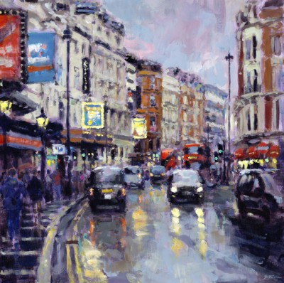 Twilight, Shaftesbury Avenue painting by artist David FARREN