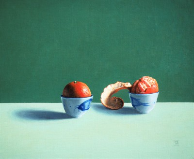 Modern Artist David GLEESON - Blue Fish and Clementines