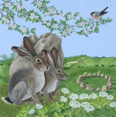 Modern Artist David POLE - Watchful Hares