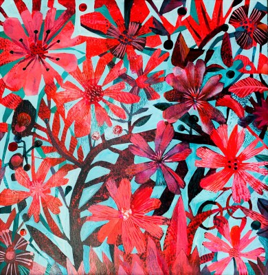 Red Cosmos painting by artist Este MacLEOD