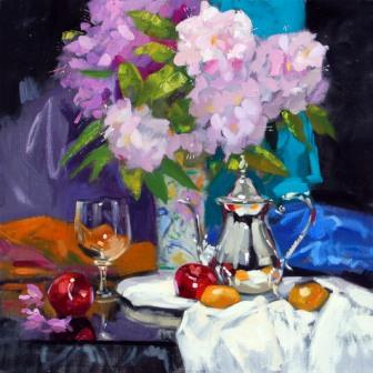 Modern Artist Jack MORROCCO - Rhododendrons and Rummer