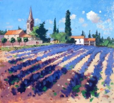 Modern Artist James ORR - Lavender Fields - Ardeche