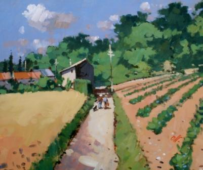 Modern Artist James ORR - Farm Road, Rodieres. Ardeche