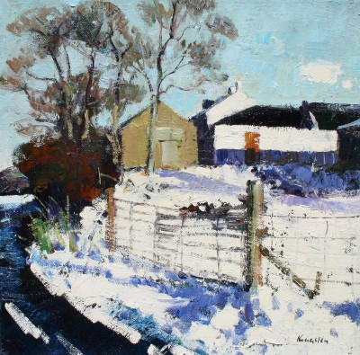 Modern Artist John KINGSLEY PAI RSW  - Farm Under Snow, Ayrshire