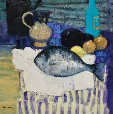 Modern Artist John KINGSLEY PAI RSW  - Still Life with Sea Bass