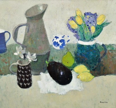 Modern Artist John KINGSLEY PAI RSW  - Little Blue and White Jug