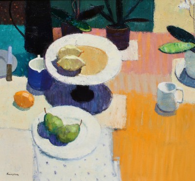 Modern Artist John KINGSLEY PAI RSW  - Still Life with Pears and Lemons