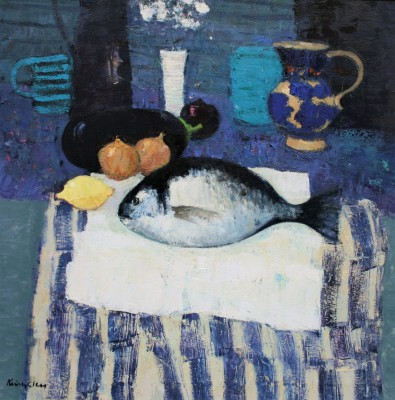 Modern Artist John KINGSLEY PAI RSW  - Still Life with Sea Bream
