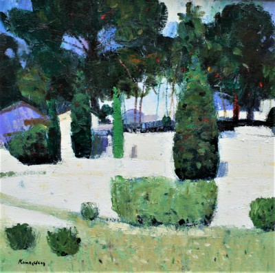 John KINGSLEY PAI RSW , contemporary artist - Terraced Gardens, Cassis