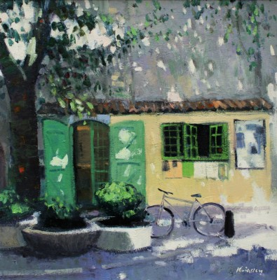 Modern Artist John KINGSLEY PAI RSW  - Little Yellow Shop, Fayence