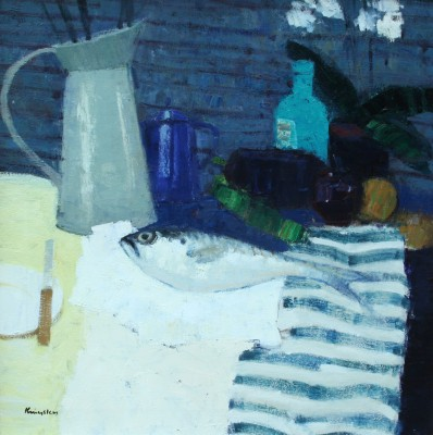 John KINGSLEY PAI RSW  - Still Life with Fish and Blue Coffee Pot