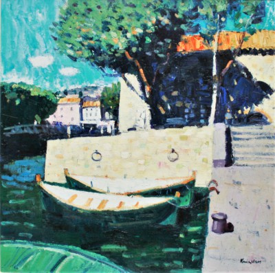 Quayside, Collioure painting by artist John KINGSLEY PAI RSW
