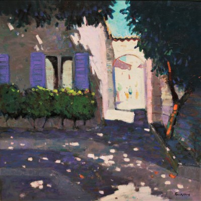 Modern Artist John KINGSLEY PAI RSW  - Shaded Courtyard, Aspremont