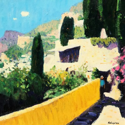 Roquebrune-Cap-Martin painting by artist John KINGSLEY PAI RSW