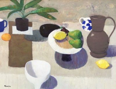 Still Life with Blue and White Jug painting by artist John KINGSLEY PAI RSW