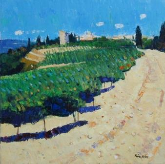 Modern Artist John KINGSLEY - Vineyards, Buisson