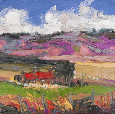 Modern Artist Judith BRIDGLAND - Sheep by Red Roofed Cottage, Glenlivet