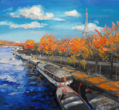 Modern Artist Judith BRIDGLAND - Autumn by the Eiffel Tower