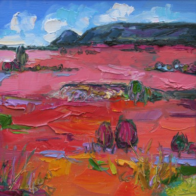 Judith BRIDGLAND, contemporary artist - Pink Grasses in Sunlight, the Campsies
