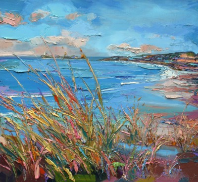 Modern Artist Judith BRIDGLAND - Fidra Lighthouse through Grasses