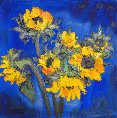 Modern Artist Judith BRIDGLAND - Group of Sunflowers on Blue