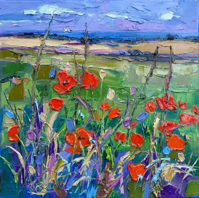 Modern Artist Judith BRIDGLAND - Distant Sea Beyond Poppy Field