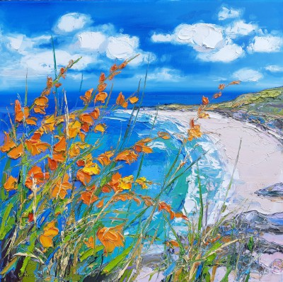 Beach at Gullane through Montbretia