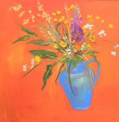 Wildflowers in Blue Vase painting by artist Judith BRIDGLAND