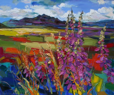 Modern Artist Judith BRIDGLAND - Foxgloves with Ben Loyal