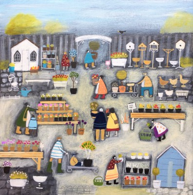 Just Popping to the Garden Centre painting by artist Louise RAWLINGS