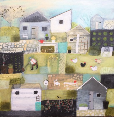 Six Sheds painting by artist Louise RAWLINGS