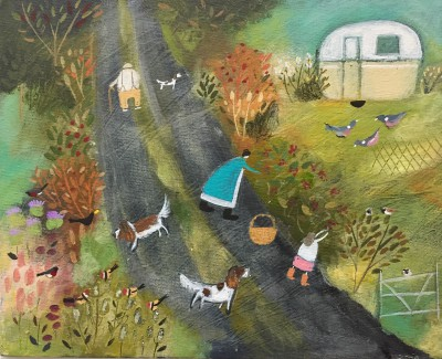 Modern Artist Louise RAWLINGS - Berry Picking in the Lane