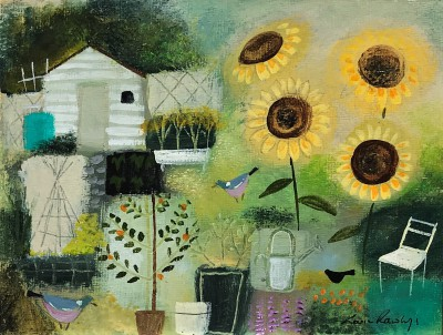 Modern Artist Louise RAWLINGS - First of the Allotment Sunflowers