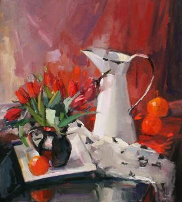 Marion DRUMMOND, contemporary artist - Fiery Red Tulips