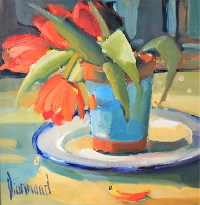 Little Red Tulips painting by artist Marion DRUMMOND