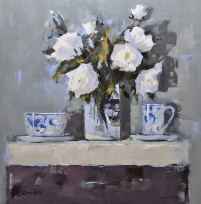 Modern Artist Mary DAVIDSON - Roses and Porcelain