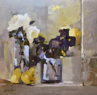 Mary DAVIDSON, contemporary artist&nbsp;-&nbsp;<span style='color:red;font-size: 200%'>&#8226;</span> Rose, Pansies and Pears