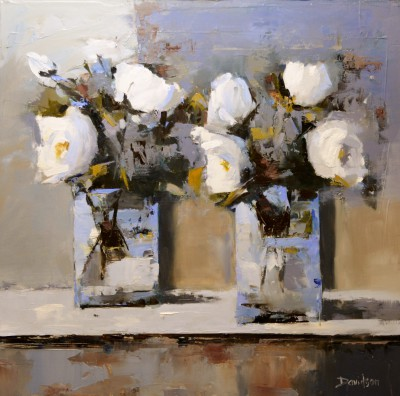 Mary DAVIDSON, contemporary artist&nbsp;-&nbsp;<span style='color:red;font-size: 200%'>&#8226;</span> White Roses in Summer