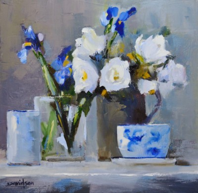 Modern Artist Mary DAVIDSON - Roses and Irises