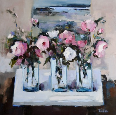 Modern Artist Mary DAVIDSON - Roses and Work in Progress