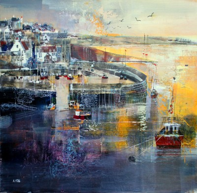 Modern Artist Nagib KARSAN - Crail Harbour and Village