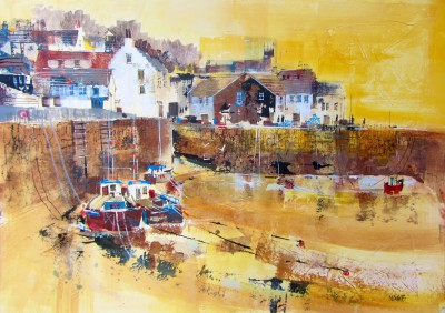 Modern Artist Nagib KARSAN - Crail Harbour at Low Tide